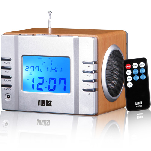 Mini MP3 Musicbox with FM Clock Radio - Silver/Brown